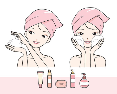 woman washing face: Girl Washing Face With Foam, Facial, Treatment, Beauty, Cosmetic, Makeup, Healthy, Lifestyle Illustration