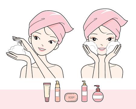 Muchacha que se lava la cara con espuma, facial, tratamiento de belleza, cosméticos, maquillaje, sana, vida Foto de archivo - 61980121