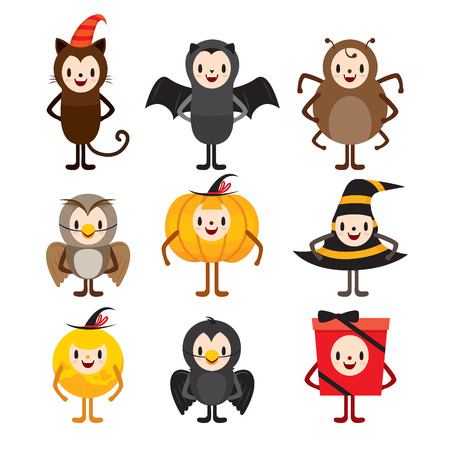 Halloween Cartoon Character Design Set, Mystery, Holiday, Trick or Treat, Culture, Disguise, October, Character, Fantasy, Night Party