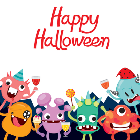 Monsters Cartoon Character In Halloween Party, Mystery, Trick or Treat, Culture, October, Decoration, Fantasy, Night Party
