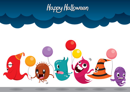 parade: Parade Of Monsters Funny Halloween Party, Mystery, Trick or Treat, Culture, October, Decoration, Fantasy, Night Party Illustration