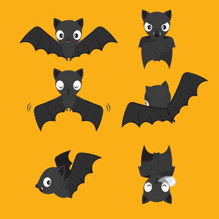 Set Of Bat Cartoon With Different Actions, Halloween, Trick or Treat, Animal, Mystery, Holiday, October, Actions, Season
