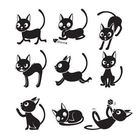 Set Of Cat Cartoon With Different Actions, Monochrome, Halloween, Trick or Treat, Animal, Mystery, Holiday, October, Actions, Season