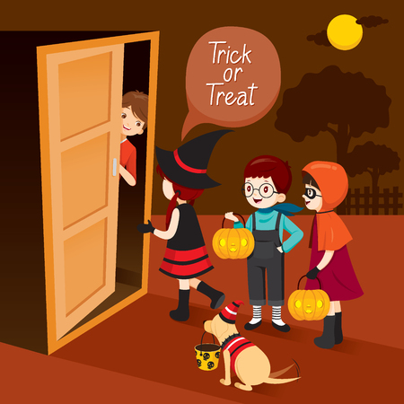 Trick Or Treat, Children And Man Open Door, Mystery, Holiday, Culture, Halloween, Decoration, Fantasy, Night Party Illustration