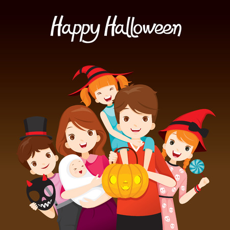 family holiday: Family Happy Halloween Together, Mystery, Holiday, Trick or Treat, Culture, October, Decoration, Fantasy, Night Party