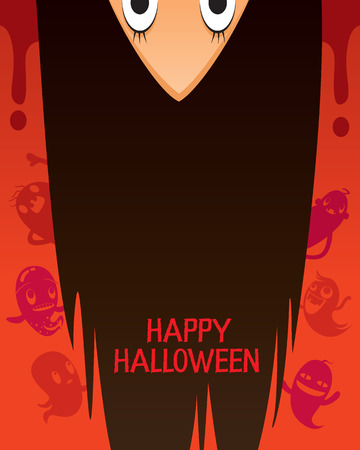 long night: Halloween Ghost With Upside Down Head And Long Hair, Mystery, Holiday, Trick or Treat, Culture, Disguise, October, Character, Fantasy, Night Party Illustration