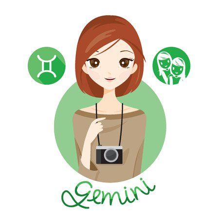 fortunetelling: Woman With Gemini Zodiac Sign, Astrological, Constellation, Beauty, Female, Western, Fortunetelling, Lifestyle