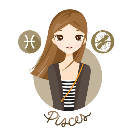 Woman With Pisces Zodiac Sign, Astrological, Constellation, Beauty, Female, Western, Fortunetelling, Lifestyle
