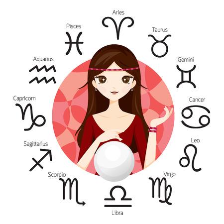 Vrouw Fortuneteller En Kristallen Bol Met Zodiac Signs, astroloog, Constellation, Western, schoonheid, cosmetische, mode, Paranormaal, waarzegger, Magic, Occult, Presage, Fate, Prophecy Stockfoto - 63448941