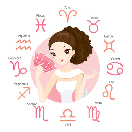 Woman Fortuneteller And Tarot Card With Zodiac Signs, Astrologer, Constellation, Western, Beauty, Cosmetic, Fashion, Paranormal, Soothsayer, Magic, Occult, Presage, Fate, Prophecy