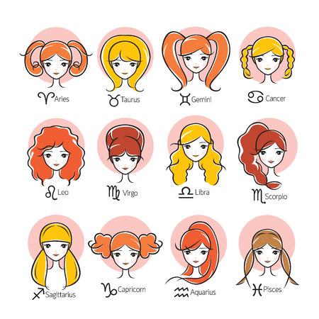 여자 12 조디악 징후 아이콘 세트, 점성학, 별자리, 아름다움, 서양, 여성, Fortunetelling, 라이프 스타일
