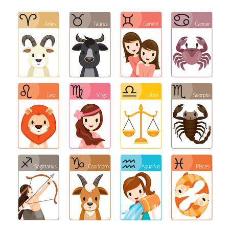 ゾディアック サイン アイコン セット、占星術、星座、ウエスタン、占い、動物  イラスト・ベクター素材
