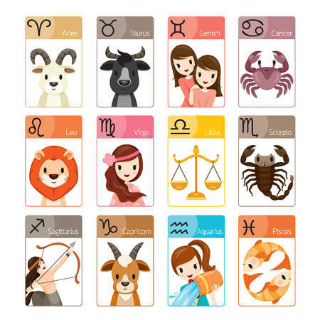 Zodiac Signs Icons Set, Astrologisch, Constellation, Western, Fortunetelling, Animal Stock Illustratie