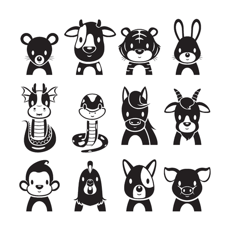 eastern zodiac: 12 Animals Chinese Zodiac Signs Icons Set, Monochrome, Horoscope, Astrological, Constellation, Eastern, Fortunetelling