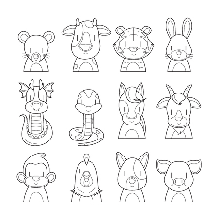 fortunetelling: 12 Animals Chinese Zodiac Signs Outline Icons Set, Horoscope, Astrological, Constellation, Eastern, Fortunetelling