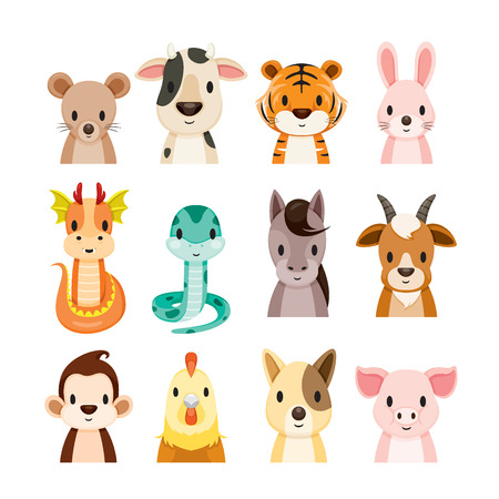 12 Animals Chinese Zodiac Signs Icons Set, Horoscope, Astrological, Constellation, Eastern, Fortunetelling Illustration
