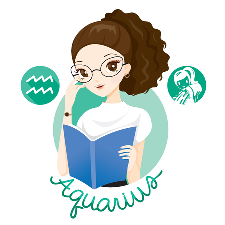 Woman With Aquarius Zodiac Sign, Astrological, Constellation, Beauty, Female, Western, Fortunetelling, Lifestyle