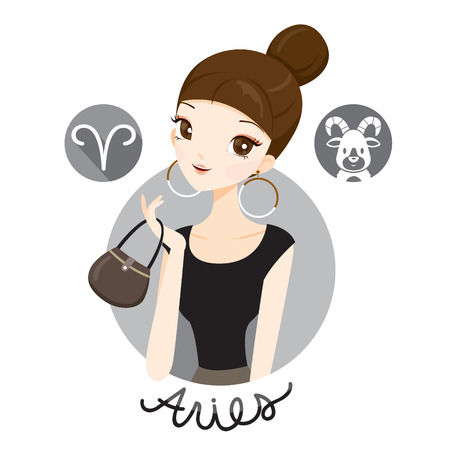 Woman With Aries Zodiac Sign, Astrological, Constellation, Beauty, Female, Western, Fortunetelling, Lifestyle