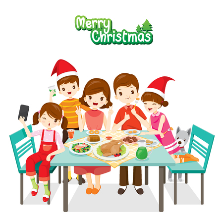 Happy Family Eating Together, Merry Christmas, Xmas, Food, Drink, Dessert, Relationship, Celebrations, Holiday