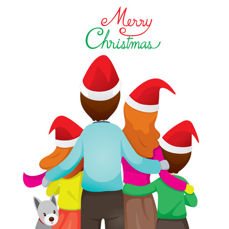 Happy Family Hugging Together, Merry Christmas, Xmas, Love, Relationship, Celebrations, Vacations, Holiday Vektorové ilustrace