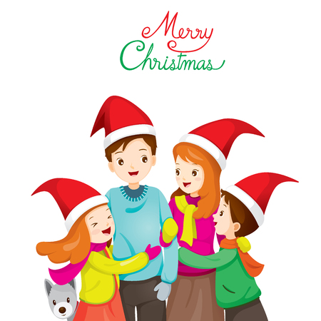 family holiday: Happy Family Hugging Together, Merry Christmas, Xmas, Love, Relationship, Celebrations, Vacations, Holiday Illustration