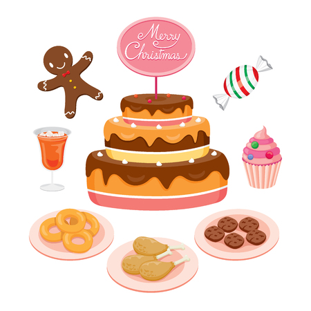 holiday food: Cake And Food Set For Christmas Day, High Calorie Food, Dessert, Xmas, Celebrations, Holiday Illustration