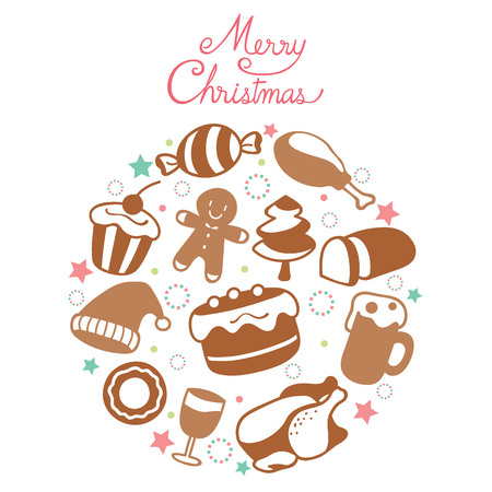 Food And Drink Icons Set, Monochrome On Circle Frame For Christmas Day, Dessert, Xmas, Celebrations, Holiday