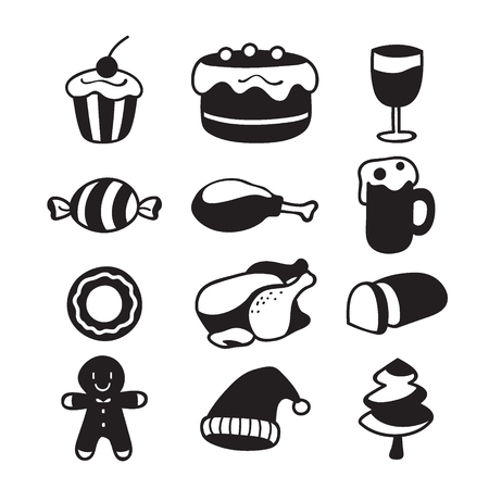holiday food: Food And Drink Icons Set, Monochrome For Christmas Day, Dessert, Xmas, Celebrations, Holiday Illustration