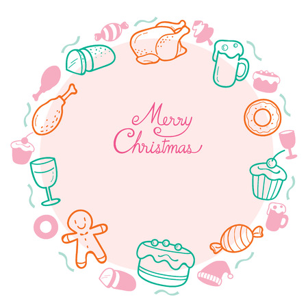 holiday food: Food And Drink Outline Icons Set On Circle Frame For Christmas Day, Dessert, Xmas, Celebrations, Holiday Illustration