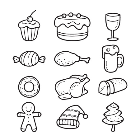 holiday food: Food And Drink Outline Icons Set For Christmas Day, Dessert, Xmas, Celebrations, Holiday Illustration