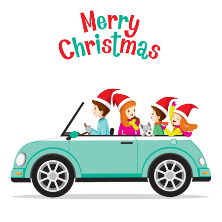 family holiday: Father Driving Car With His Family, Merry Christmas, Xmas, Vacations, Holiday, Travel, Transportation