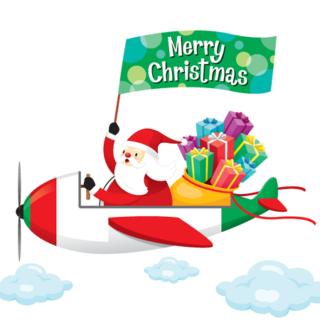 Santa Claus With Gift Boxes And Flag Happy on Airplane, Merry Christmas, Xmas, Vacations, Holiday, Travel, Transportation