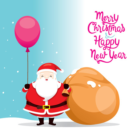 Santa Claus Holding Balloon And Big Sack, Merry Christmas, Xmas, Happy New Year, Objects,  Festive, Celebrations Illustration
