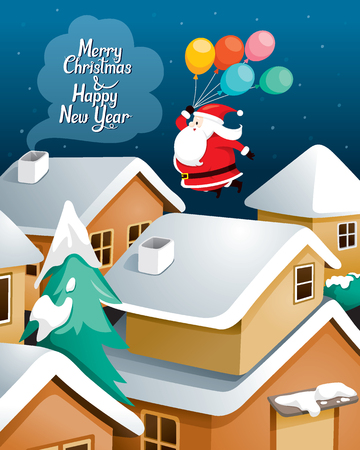Santa Claus With Balloons Flying Over Village, Merry Christmas, Xmas, Happy New Year, Objects, Festive, Celebrations, Building
