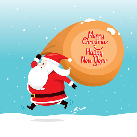 quickly: Santa Claus With Big Sack Running quickly, Merry Christmas, Xmas, Happy New Year, Objects, Festive, Celebrations