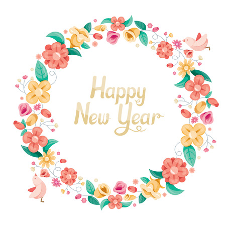 xmas decoration: Floral With Bird On Circle Frame Decoration, Flower, Blossom, Happy New Year, Merry Christmas, Xmas, Animals, Festive, Celebrations