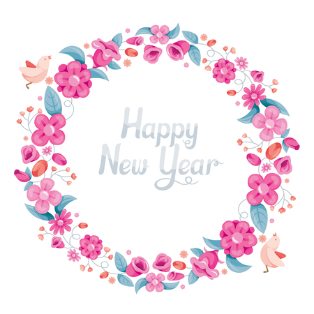 circle objects: Floral With Bird On Circle Frame Decoration, Flower, Blossom, Happy New Year, Merry Christmas, Xmas, Animals, Festive, Celebrations