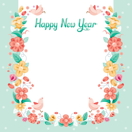 Floral With Bird Border Decoration, Flower, Blossom, Happy New Year, Merry Christmas, Xmas, Animals, Festive, Celebrations