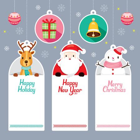 タグのセット サンタ、トナカイ、雪だるま、メリー クリスマス、クリスマス、サイン、バナー、動物、お祭り、お祝い