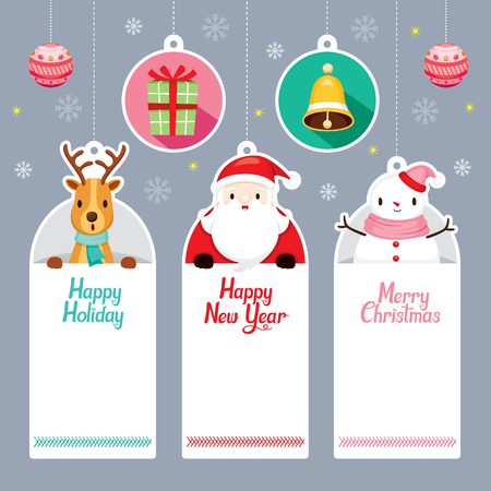 Tags Set With Santa, Reindeer, Snowman, Merry Christmas, Xmas, Sign, Banner, Animals, Festive, Celebrations
