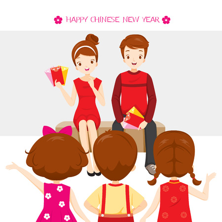 Parent Giving Red Envelopes To Children, Traditional Celebration, China, Happy Chinese New Year Illustration