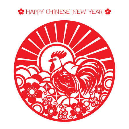 paper cut art: The Rooster Year, Chinese Zodiac Sign With Paper Cut Art, Traditional Celebration, China Illustration