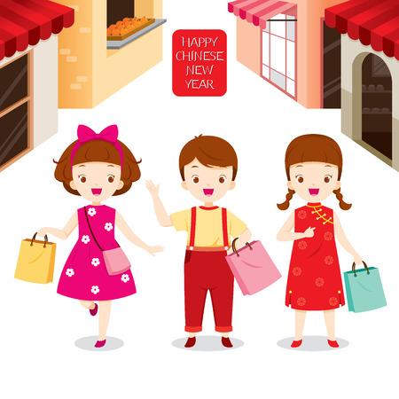 Año Nuevo chino, niños juntos de compras, compras, venta al por menor, la familia, tienda, tradicional celebración, China
