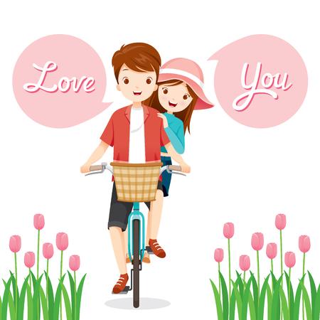 viaje familia: Hombre y mujer en bicicleta juntos, Día de San Valentín, amor, relación, amor, compromiso, boda Vectores