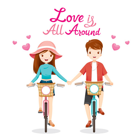family illustration: Man And Woman Riding Bicycle, Clasping Hands, Love Is All Around, Valentine's Day, Love, Relationship, Sweetheart, Engagement, Wedding Illustration