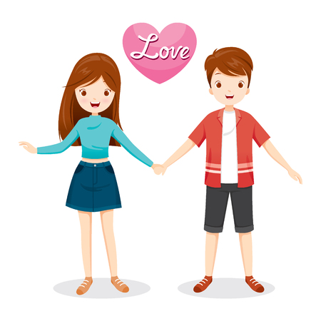 woman in love: Man And Woman Clasping Hands, Valentine's Day, Love, Relationship, Sweetheart, Engagement, Wedding Illustration
