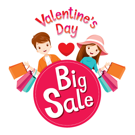 big woman: Valentine�s Day Big Sale Banner With Man And Woman, Love, Shopping, Relationship, Sweetheart, Engagement, Wedding Illustration