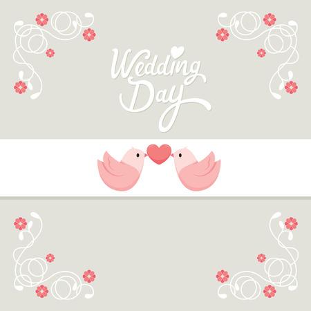 Uitnodiging van het Huwelijk, Liefde, Relatie, Bloemen, Sweetheart, Engagement, Valentijnsdag Stock Illustratie