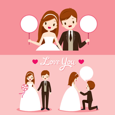 Bride And Groom With Various Actions In Wedding Clothing Set, Love, Relationship, Sweetheart, Engagement, Valentine�s Day Illusztráció