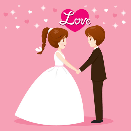 clasping: Bride And Groom In Wedding Clothing Clasping Hands, Love, Relationship, Sweetheart, Engagement, Valentine's Day Illustration